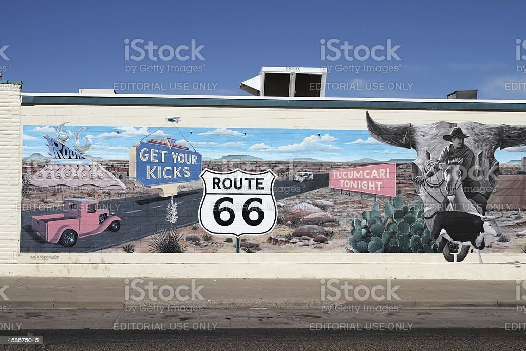 Route 66 mural in Tucumcari New Mexico royalty-free stock photo