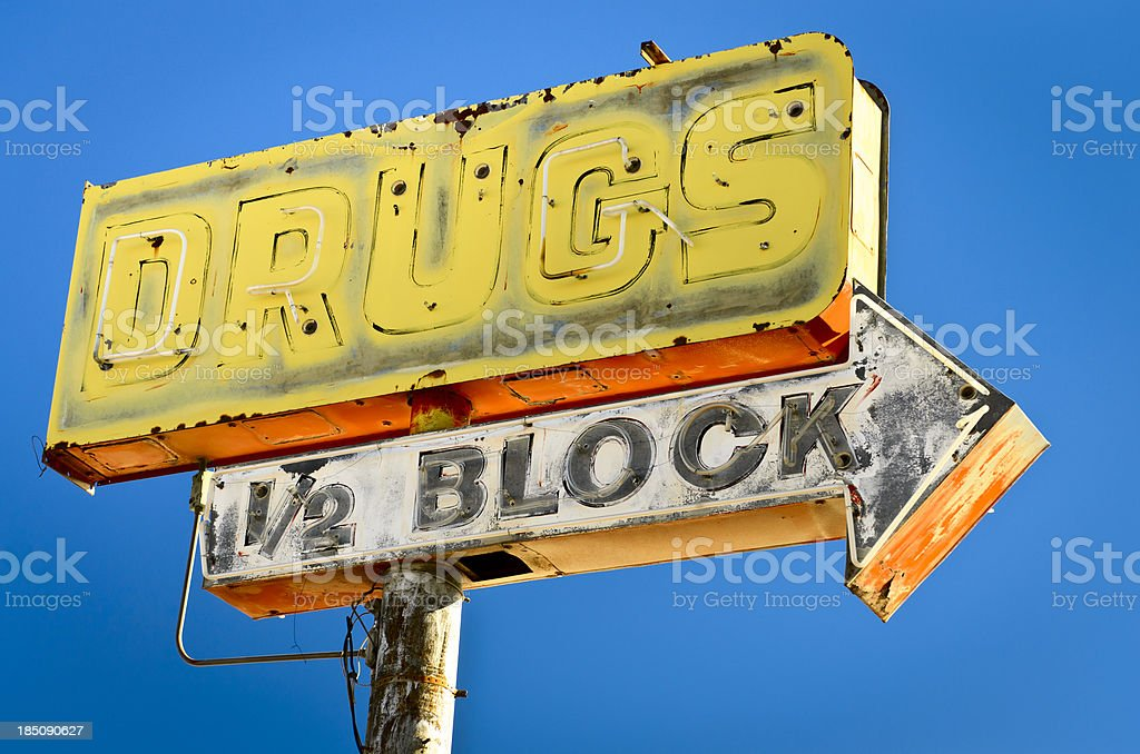 Route 66 Neon Americana Abandoned Drugstore Sign stock photo