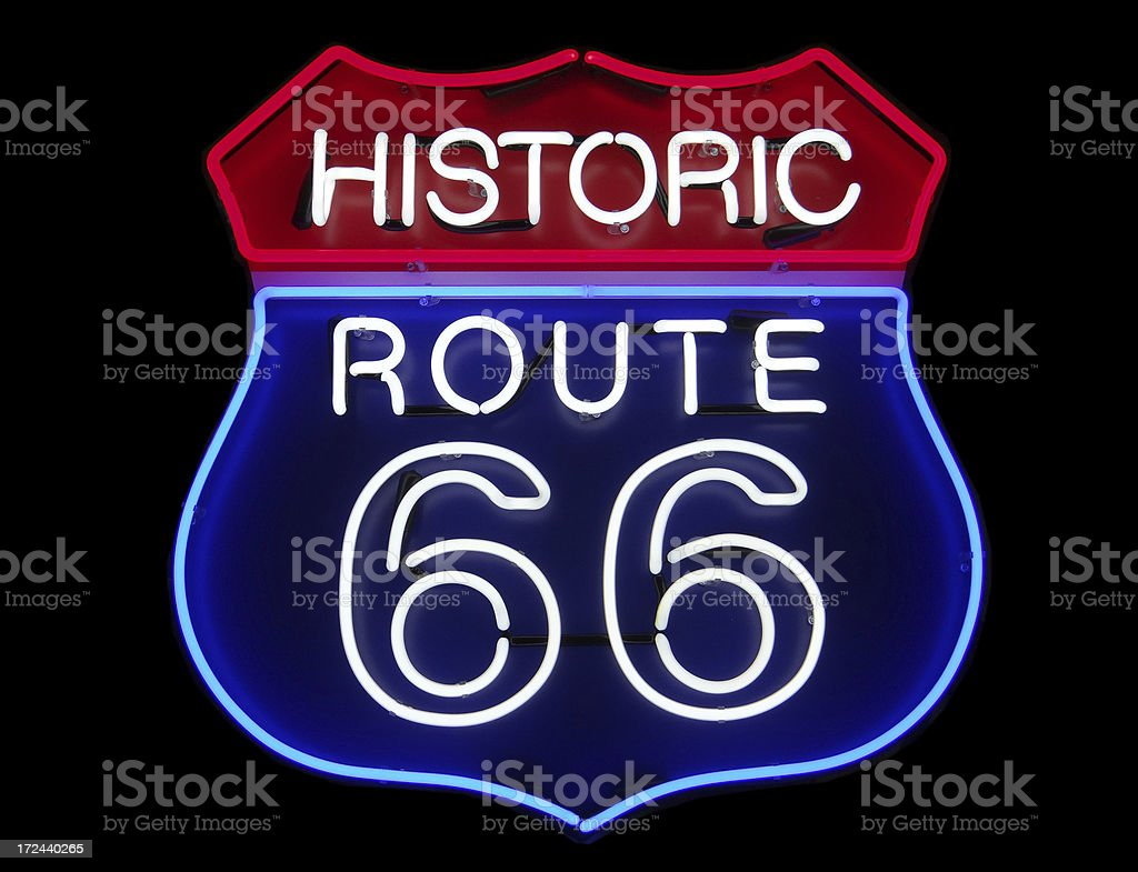 Route 66 neon sign royalty-free stock photo