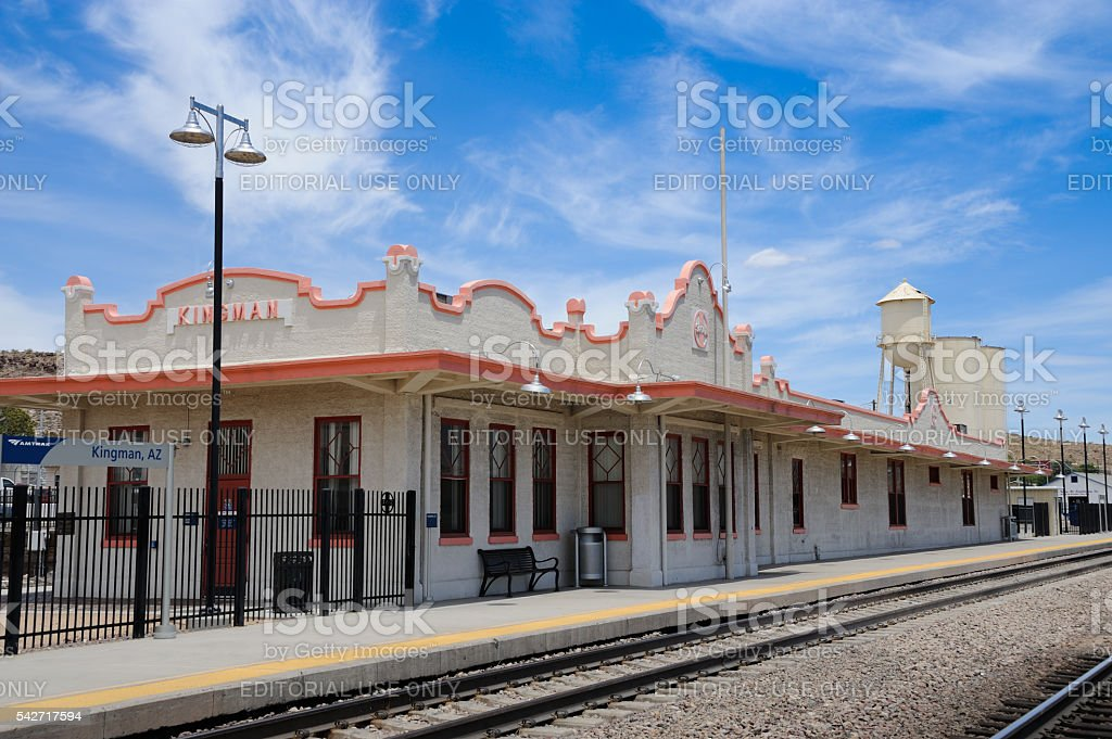 Route 66, old railroad depot, Kingman, Arizona, USA stock photo