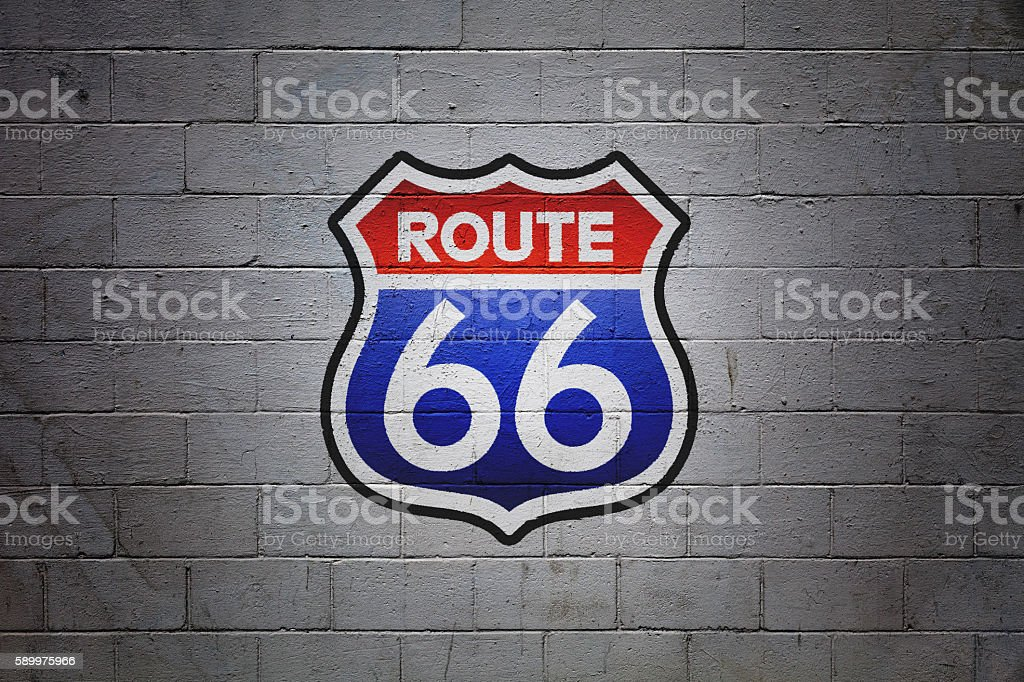 US Route 66 painted on a wall stock photo