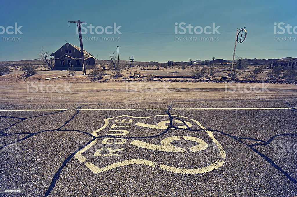 Route 66 Painted on Road in Desert stock photo