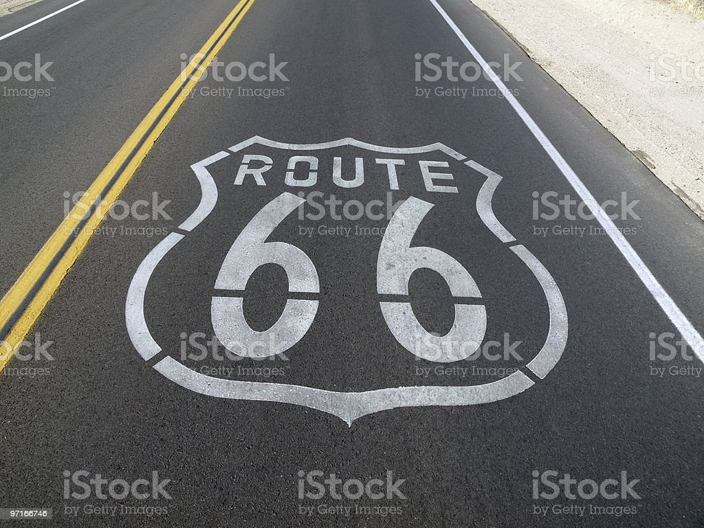 Route 66 Pavement Sign royalty-free stock photo
