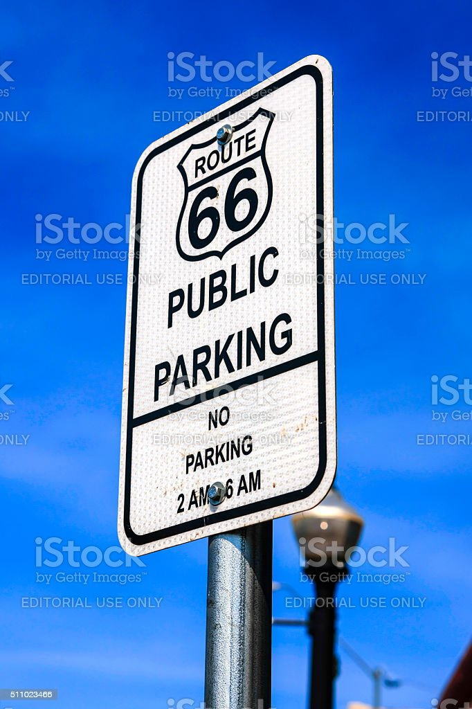 Route 66 Public Parking sign in Willams Arizona. stock photo