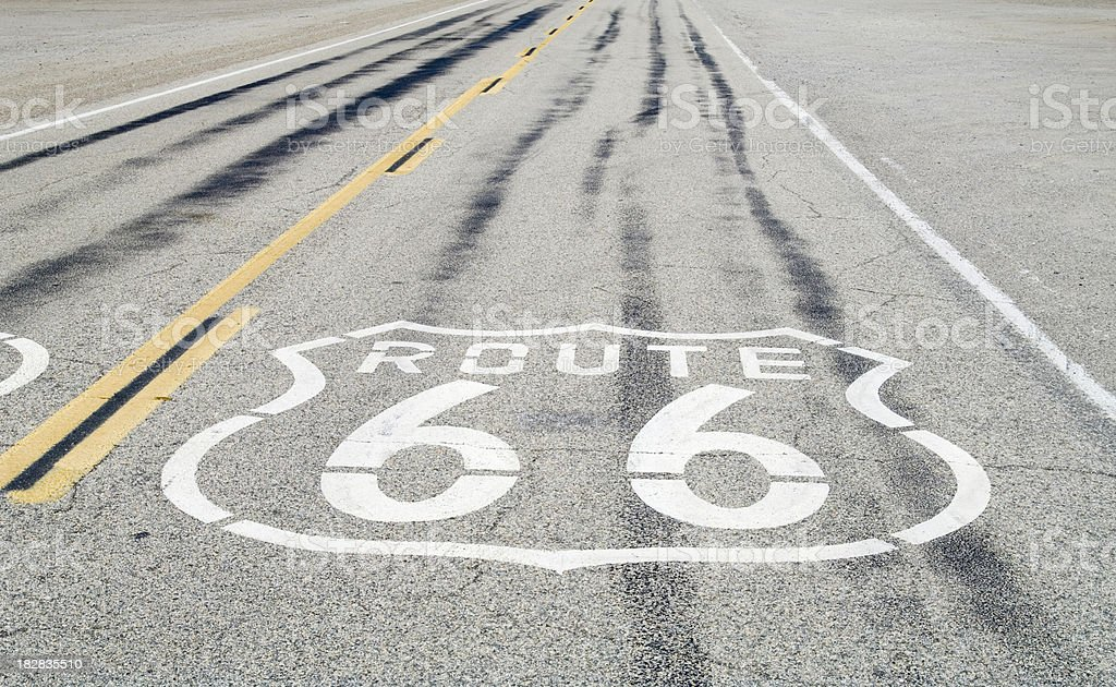 Route 66: Road Sign on Asphalt royalty-free stock photo