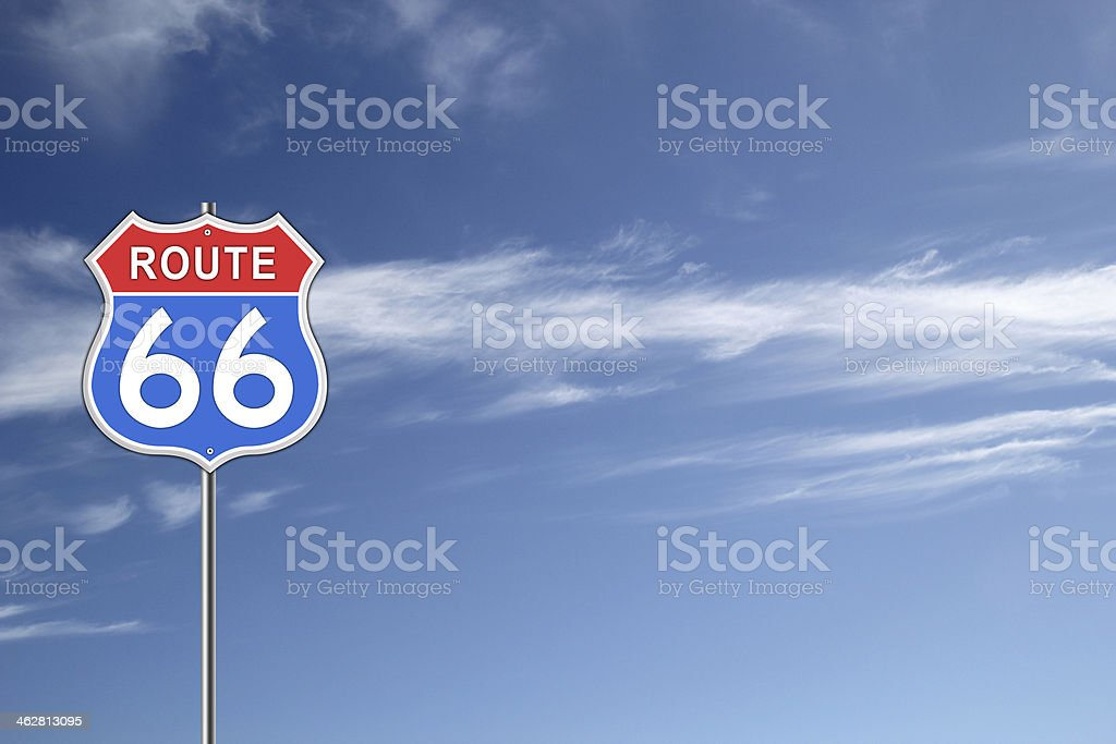Route 66 Road Sign. stock photo