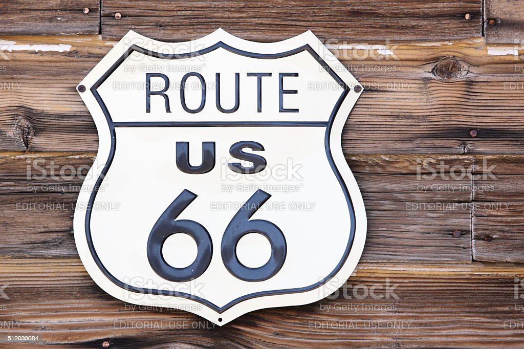 Route 66 Road Sign stock photo