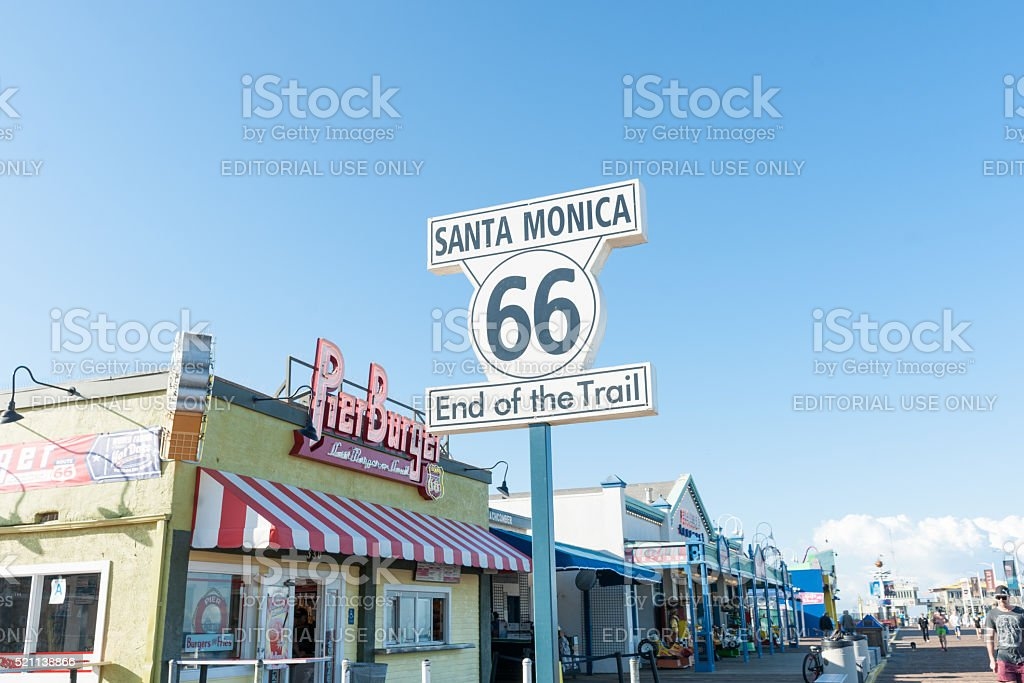 Route 66 Santa Monica  End of Trail sign stock photo