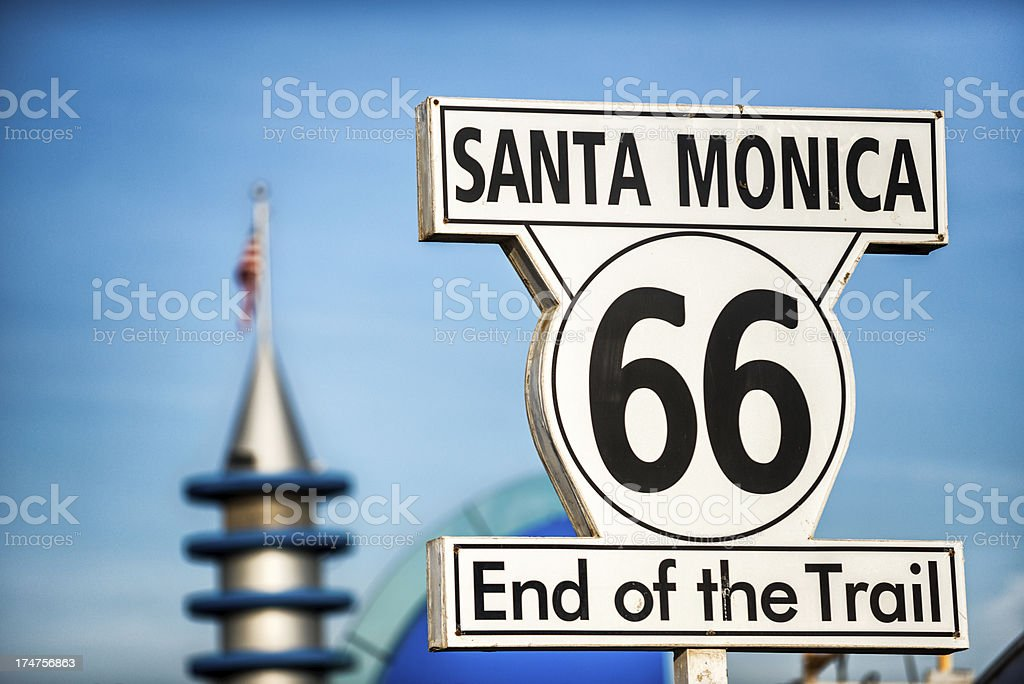 Route 66 Santa Monica sign stock photo