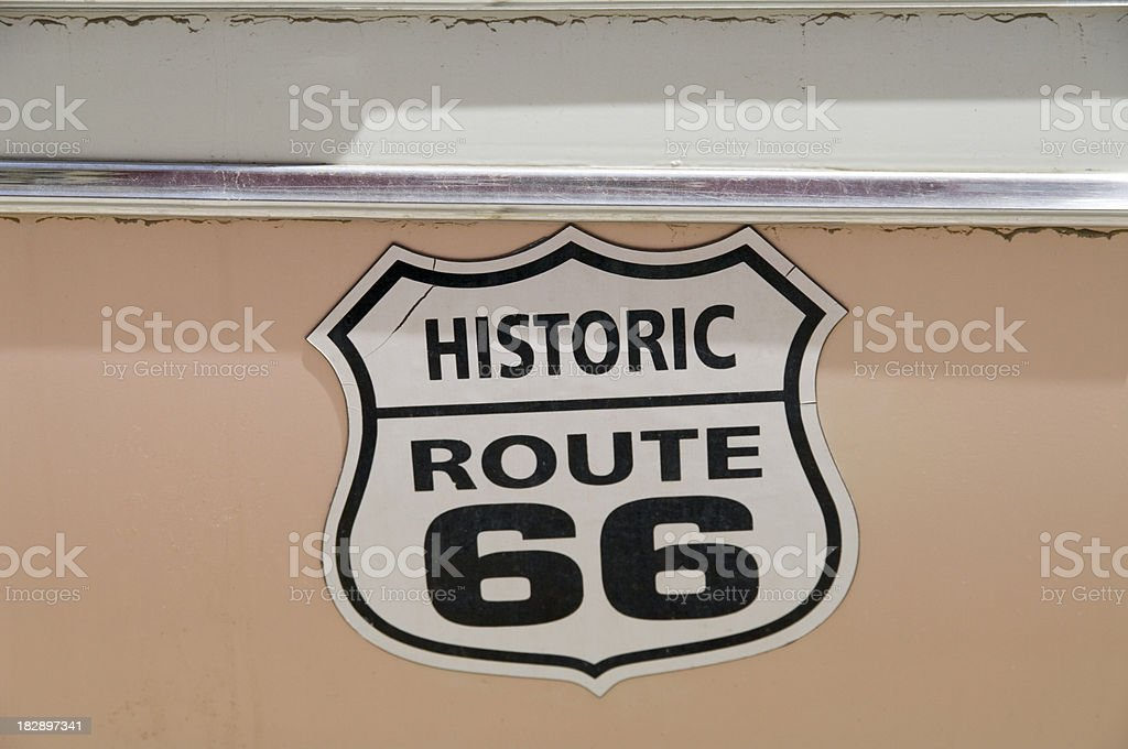 Route 66: Sign on a Vintage Car royalty-free stock photo