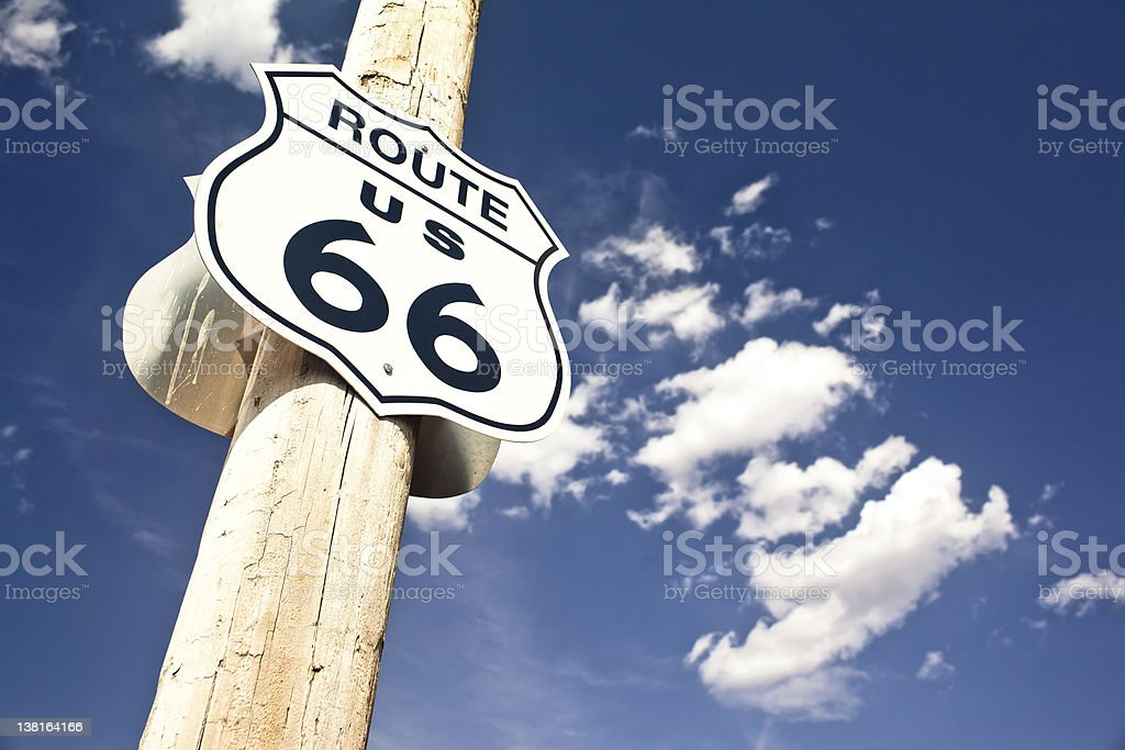 Route 66 sign photographed from below stock photo