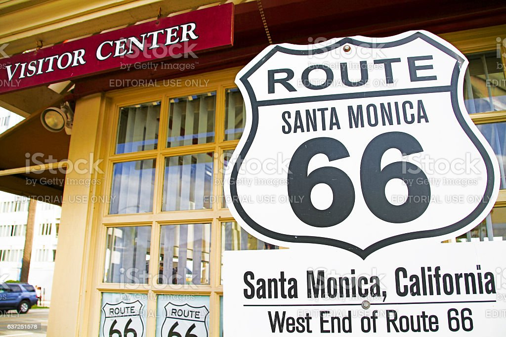 Route 66 sign,California, City Of Los Angeles stock photo