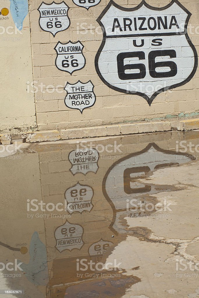 Route 66 Signs Painted on Wall, Reflection royalty-free stock photo