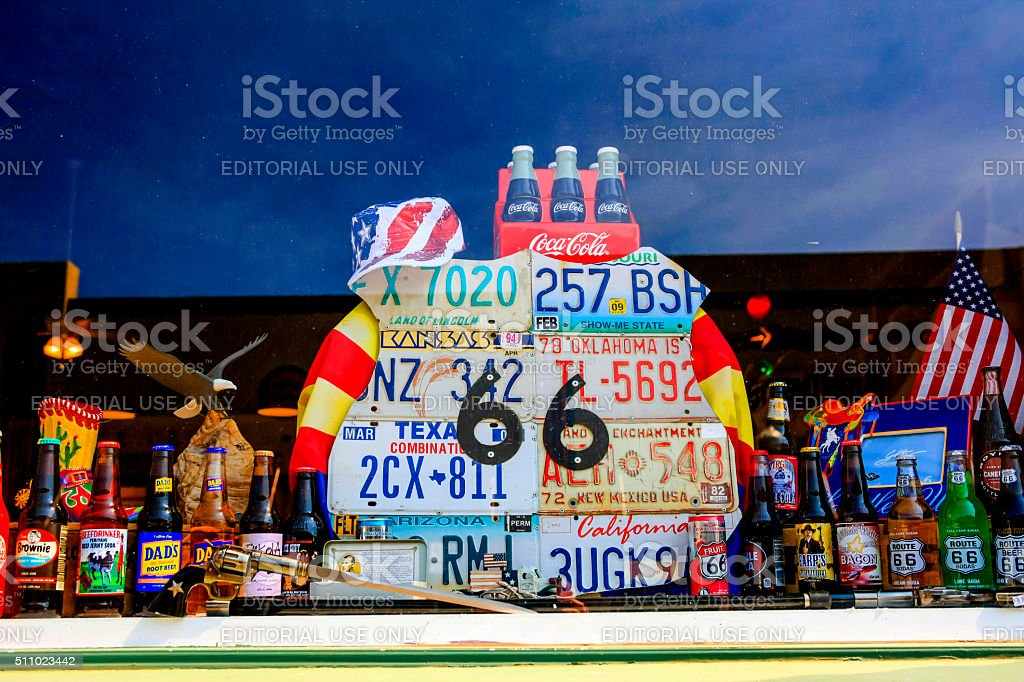 Route 66 store window display in Willams Arizona. stock photo