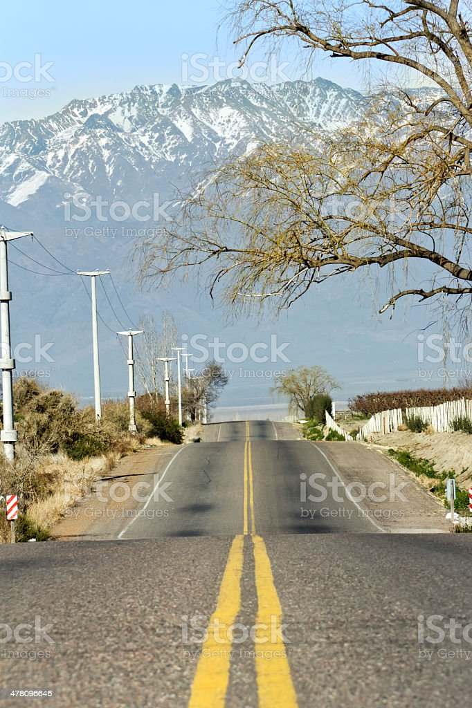 Route at the foot of the Andes stock photo