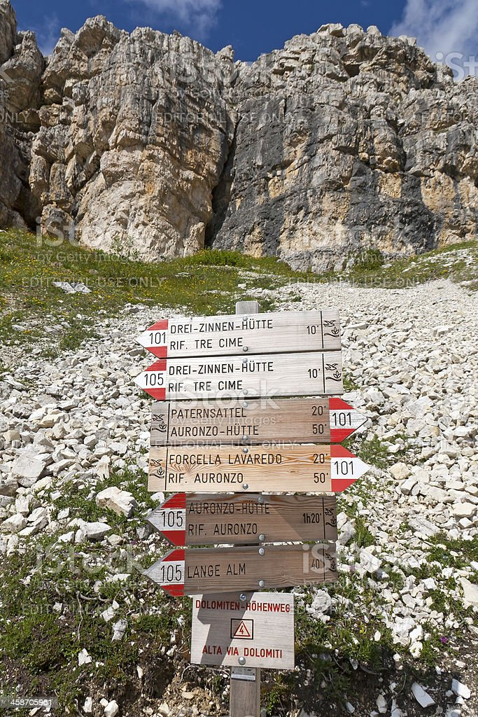 Route sign in the Dolomites royalty-free stock photo