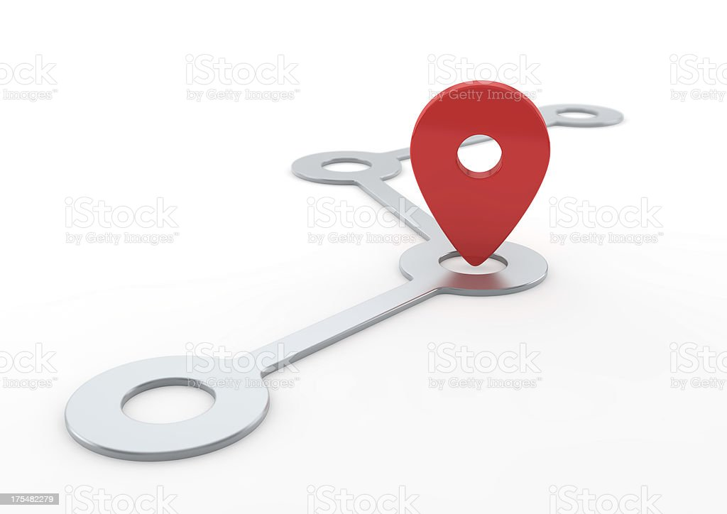 Route with Pin Pointer stock photo