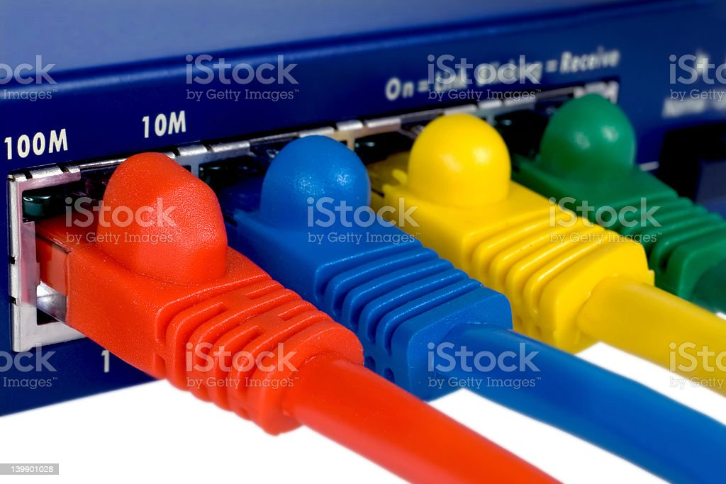 Router and cables. Isolated macro. stock photo