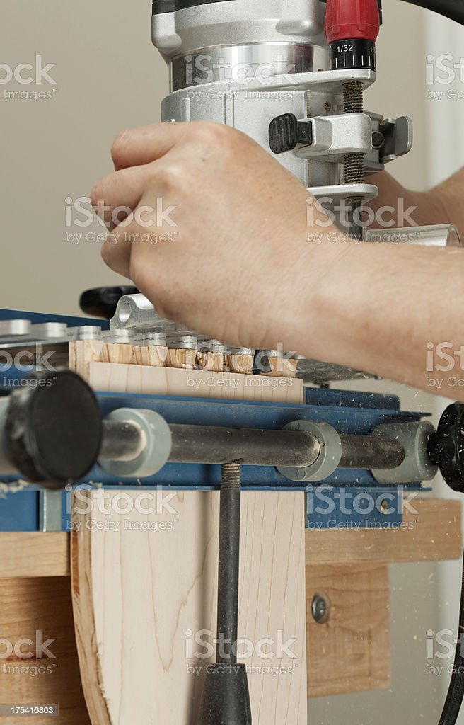 Router Cutting Dovetail Drawer Joint stock photo