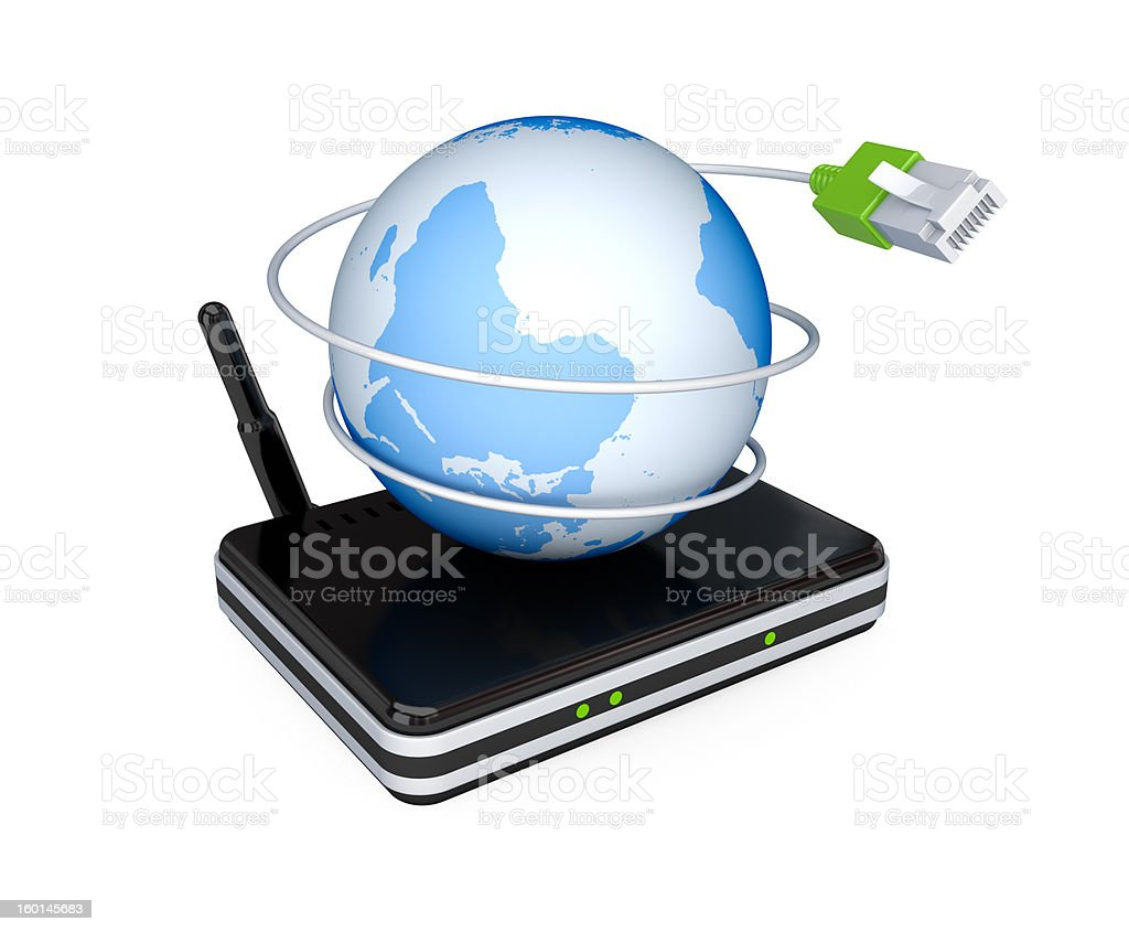 Router, Earth and patchcord. stock photo
