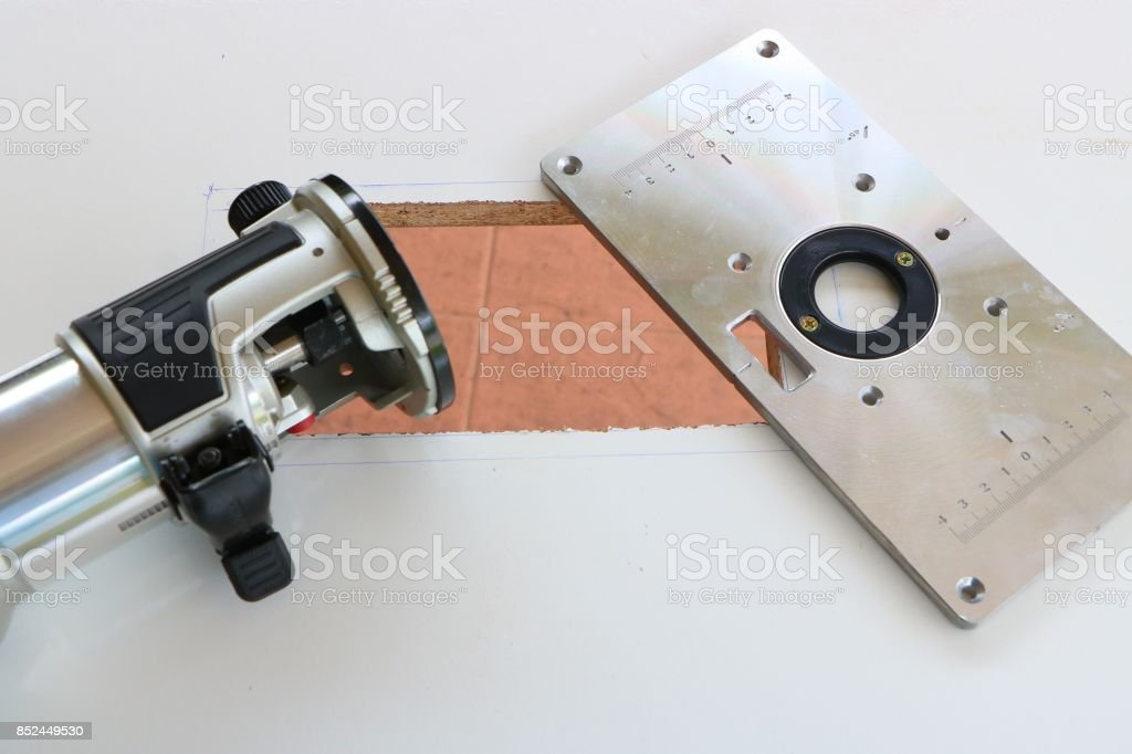 Router plate for woodworking stock photo