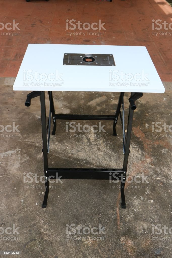 Router plate table for woodworking stock photo