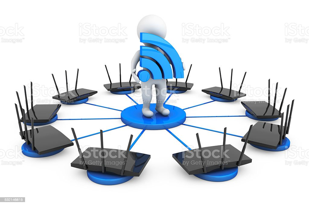 Routers around 3d Person with Wi-Fi sign stock photo