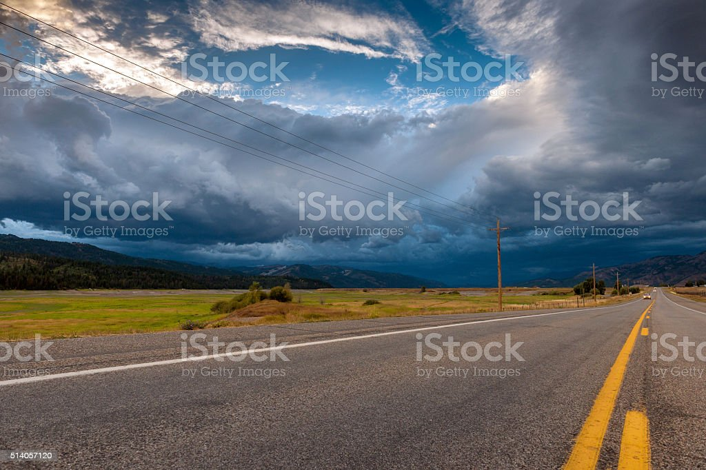 U.S. Routes 89 Wyoming, dramatic sky - Idaho USA stock photo