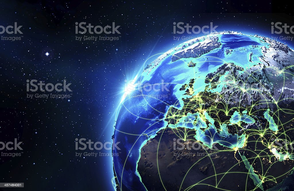 routes of air navigation in Europa royalty-free stock photo