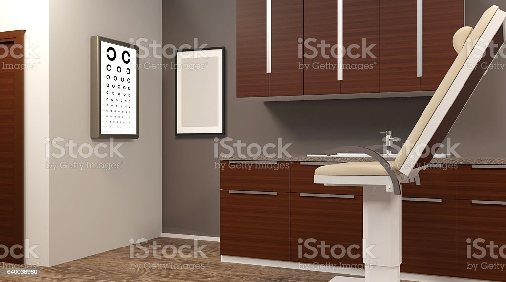 Routine eye exams. 3D rendering stock photo