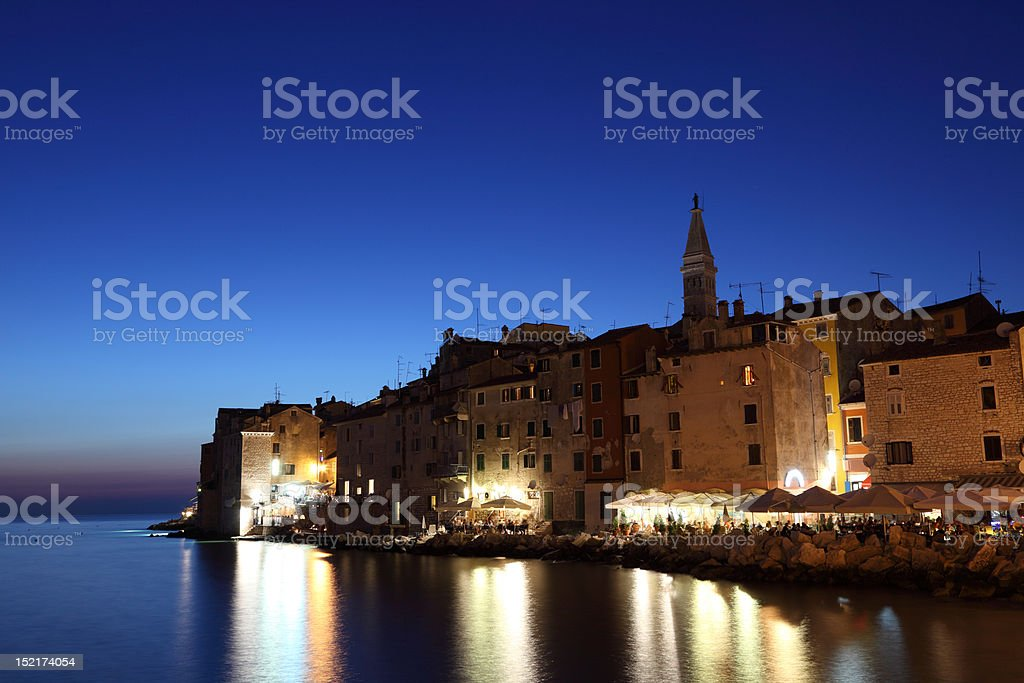Rovinj at dusk, Croatia stock photo