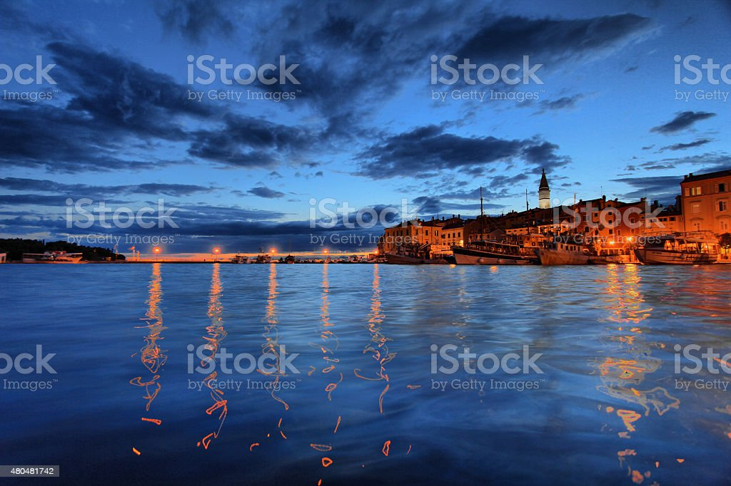 Rovinj Harbor Lights stock photo