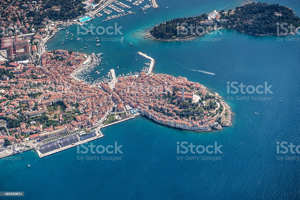 Rovinj Harbour Aerial View stock photo