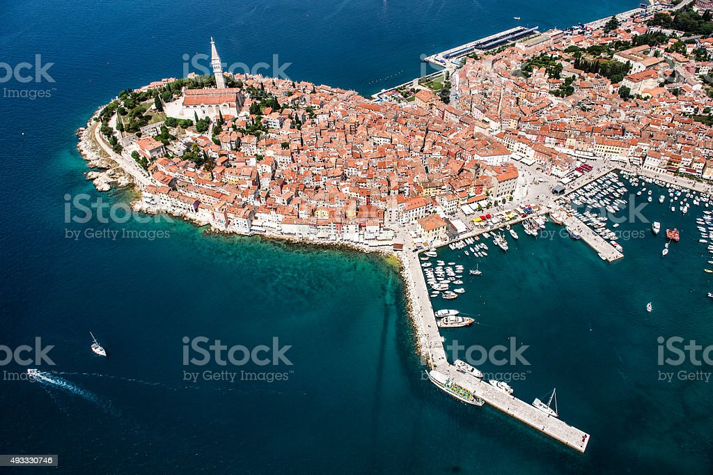 Rovinj Harbour From The Air stock photo