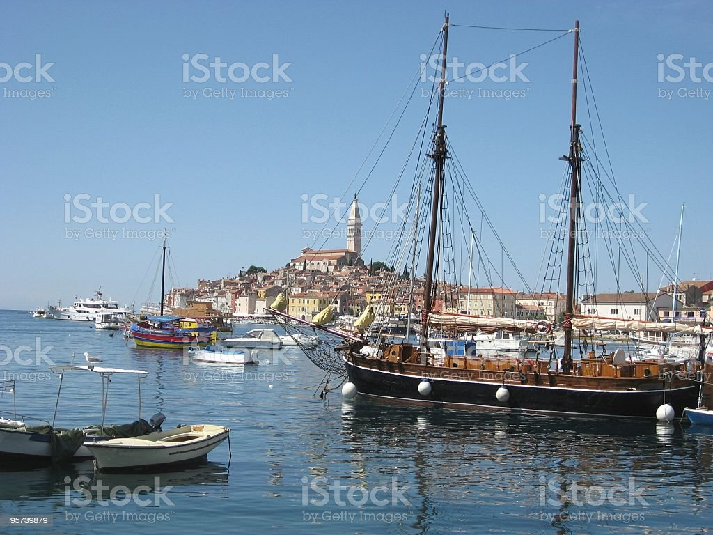 Rovinj town and harbour, Croatia stock photo