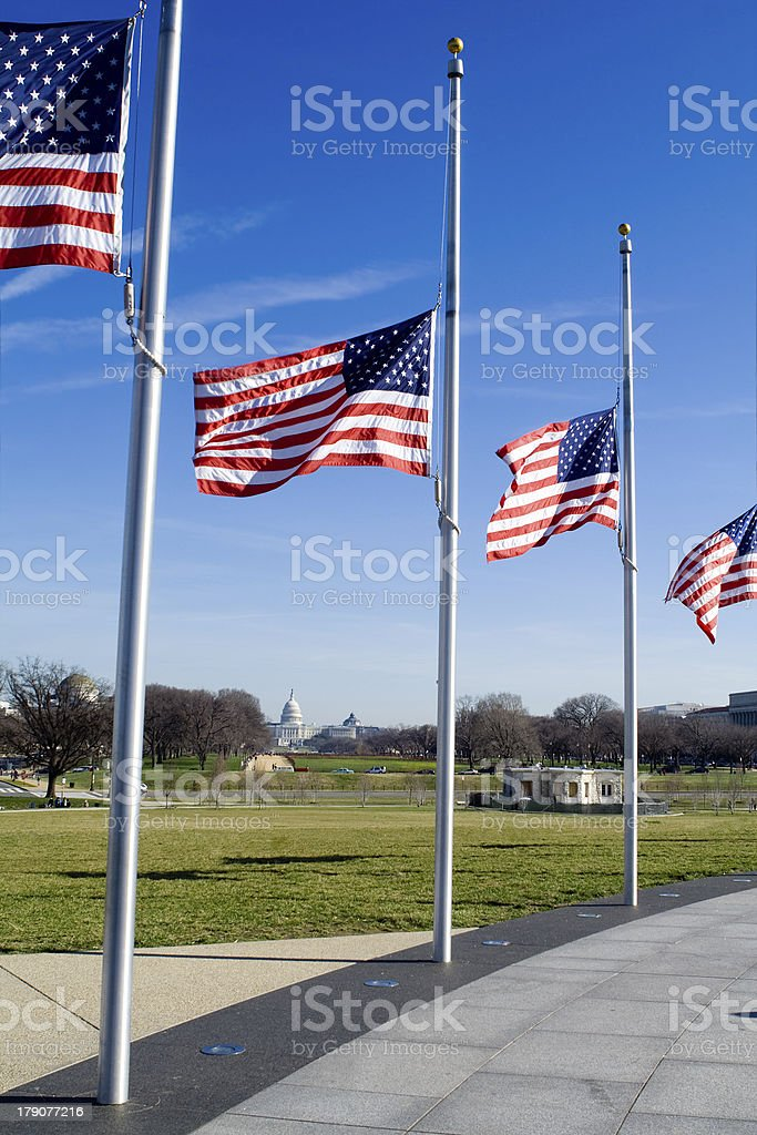 Row American Flags Flying Half Mast, Blue Sky, Washington DC stock photo