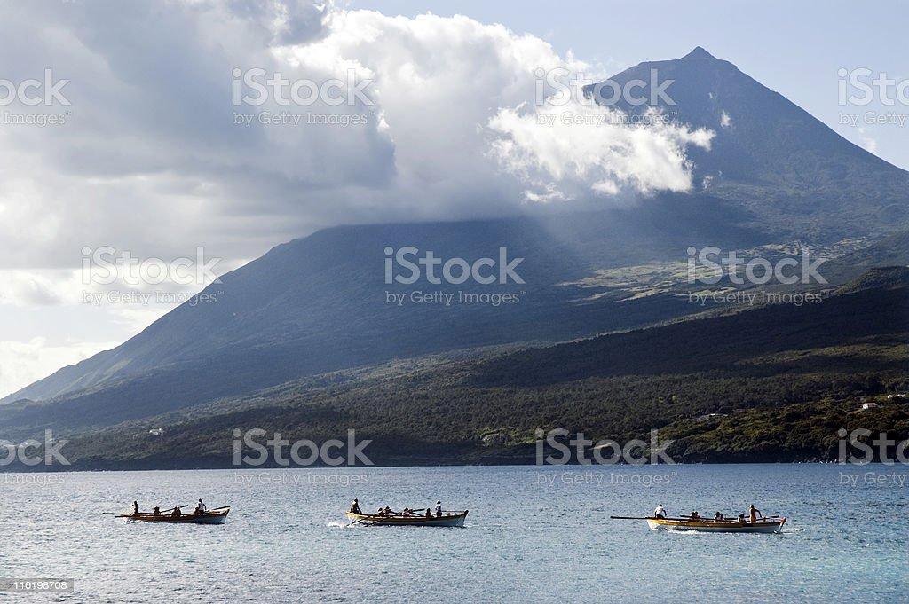 Row boat race stock photo