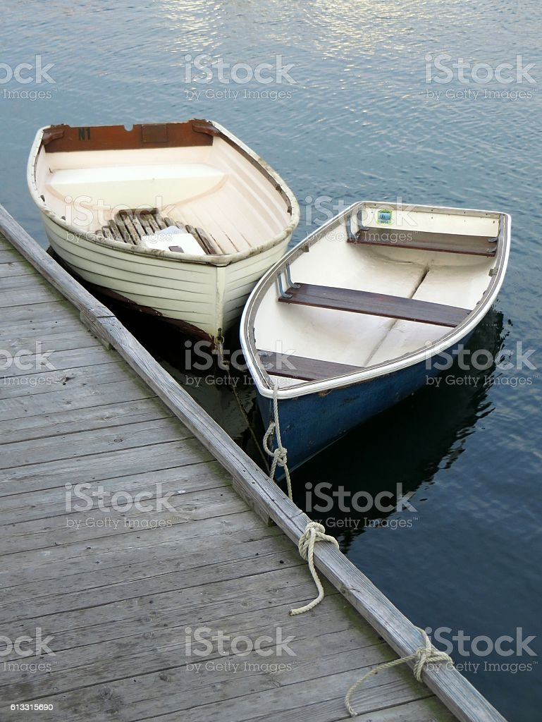 Row Boats in Harbor stock photo