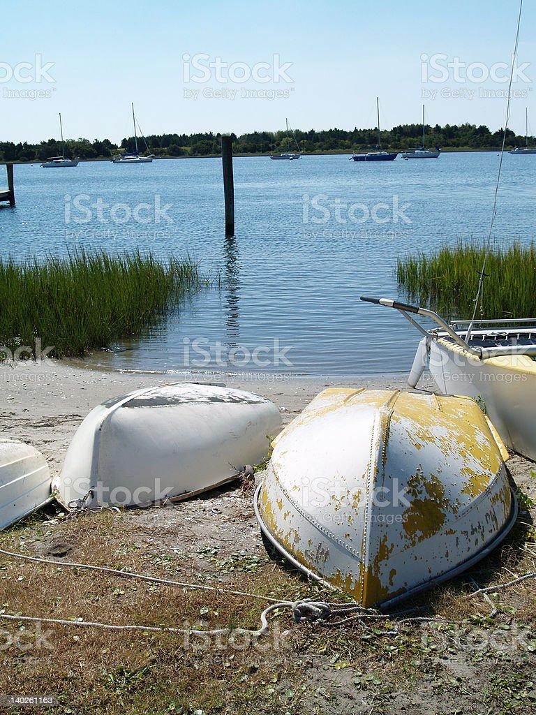 Row boats on shore royalty-free stock photo