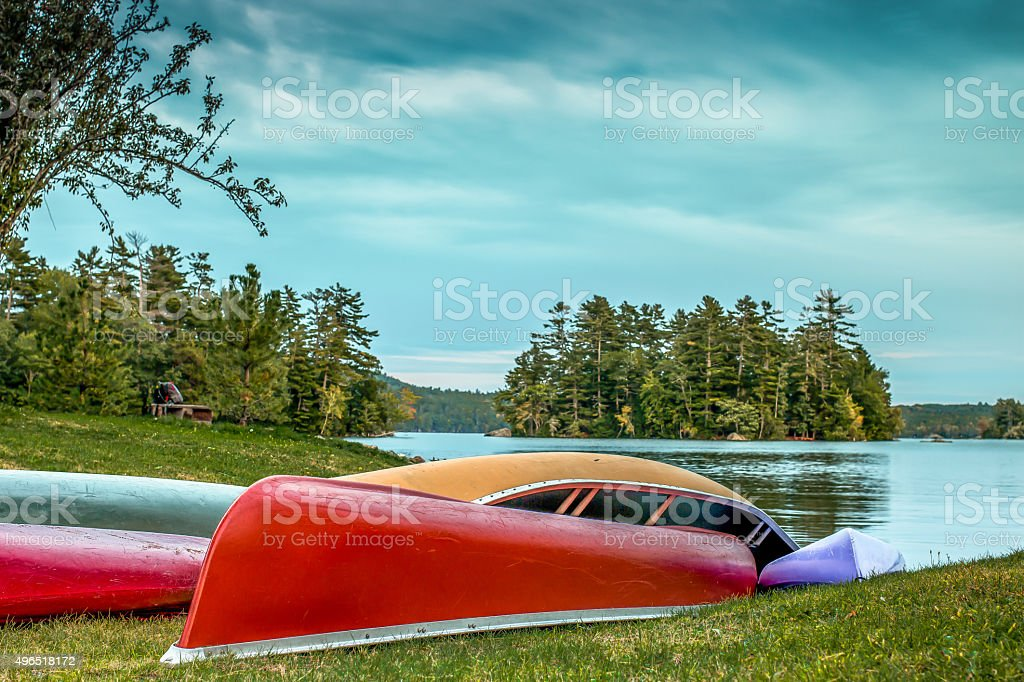 Row Boats on the shore stock photo