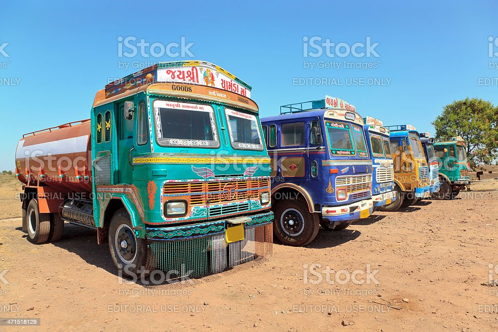 Row colorful Indian trucks parked Dhabha stock photo