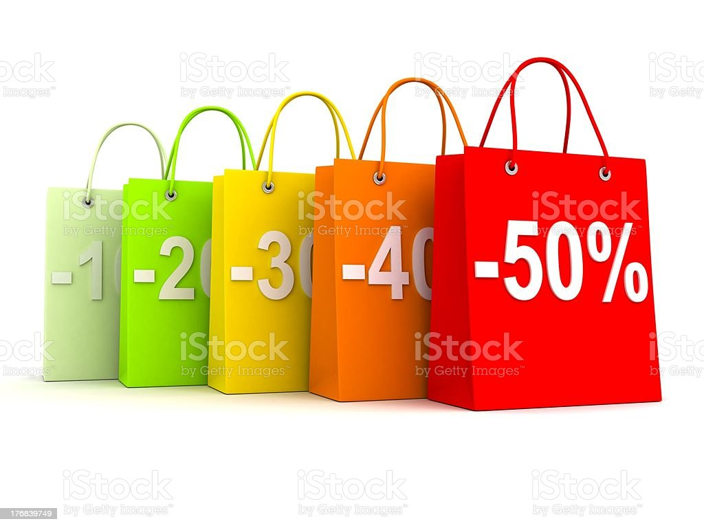 Row five bags royalty-free stock photo