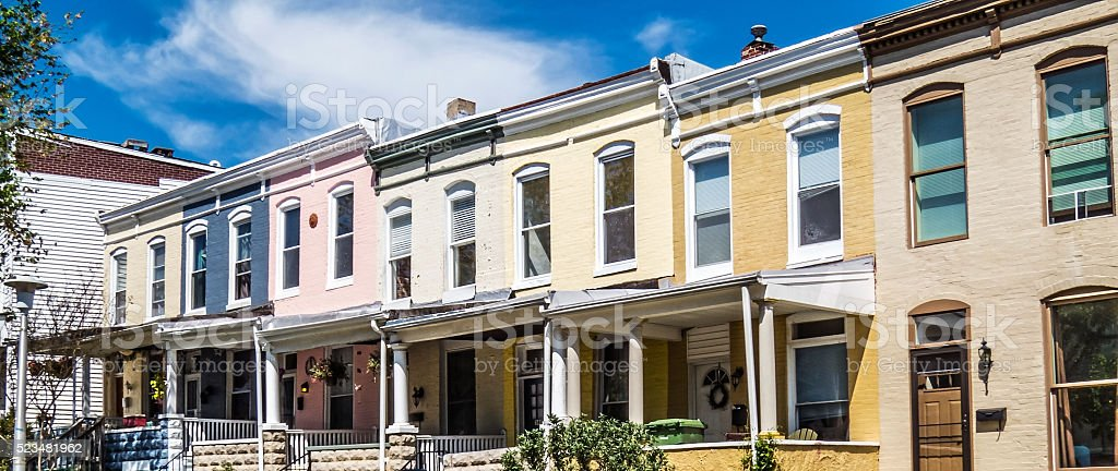 Row Homes Panorama stock photo