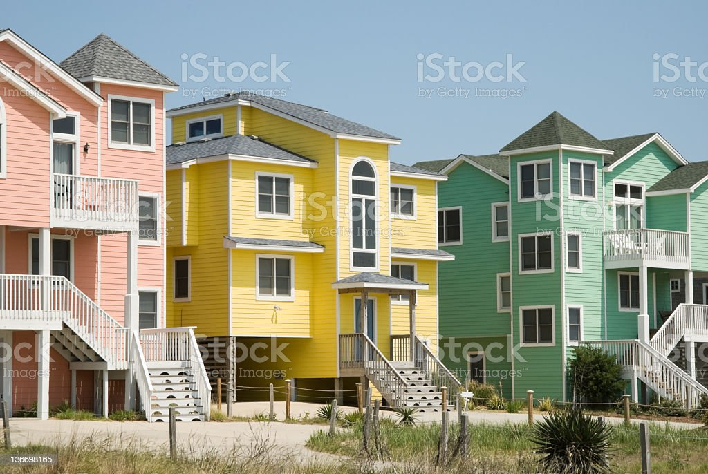 Row Houses in Bright Colors, Seaside Town stock photo