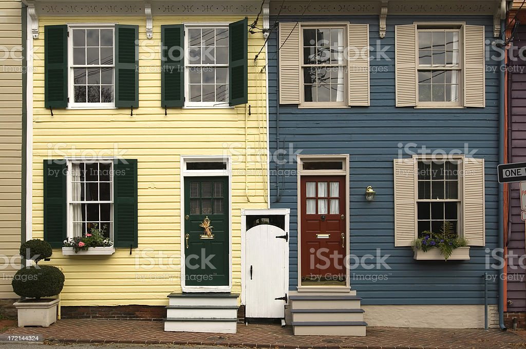 Row Houses in Colorful Graphic Form Windows, Doors, Siding royalty-free stock photo