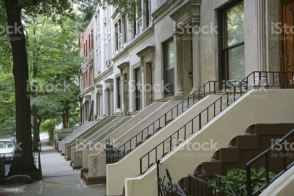 Row Houses in Harlem stock photo