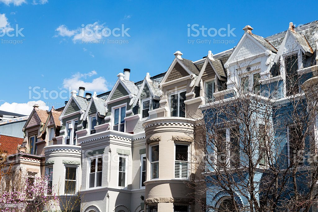Row houses in Washington DC stock photo