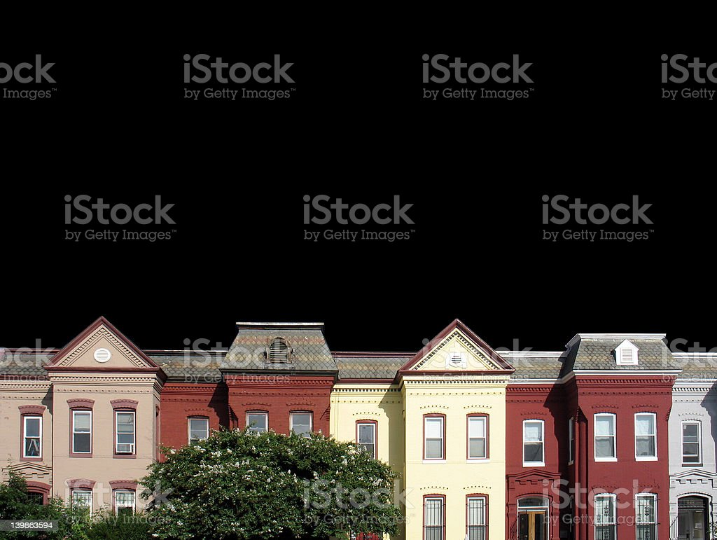 row houses isolated on black stock photo