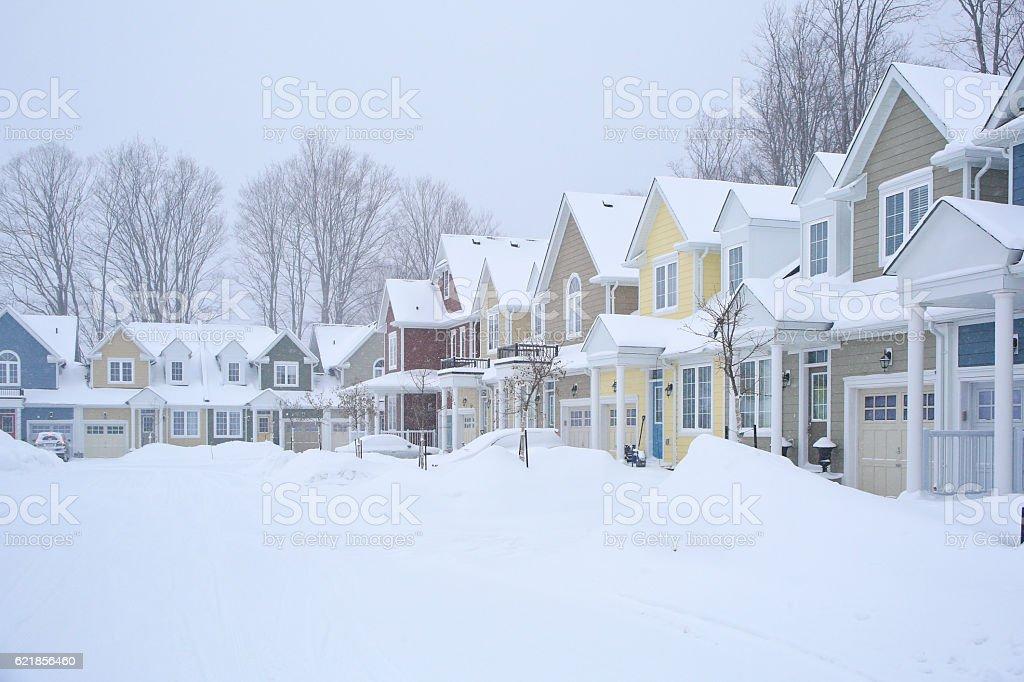 Row Houses on a Snowy Day stock photo