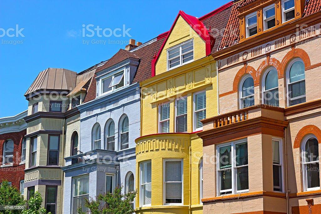Row houses on a spring day in Washington DC, USA. stock photo
